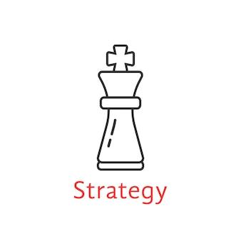 黒の細い線のチェス王。敵、プレイヤー、キャリア、ボス、レジャー、戦術目標、アイデア、パワー、攻撃、分析の概念。フラットスタイルのモダンなロゴタイプデザインベクトルイラスト白地に