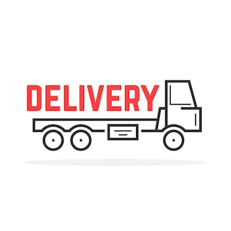 Black thin line delivery truck. concept of haulage, trailer, free delivery, tank vehicle shall, order, customer. flat outline style trend modern logotype design vector illustration on white background