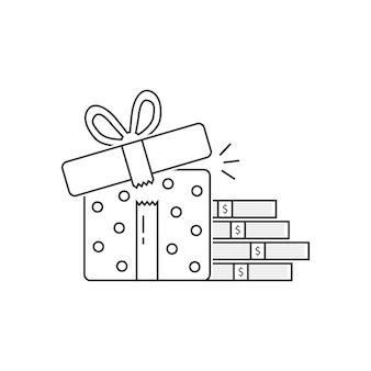 お金の山と黒い細い線のギフトボックス。株式、資金調達、利益、クリスマスはがき、給与、イベント、負債の概念。フラットスタイルのトレンドモダンなロゴタイプデザインベクトルイラスト白地に