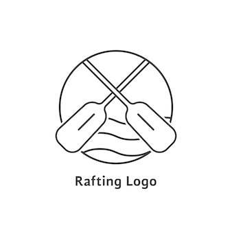 Black thin line rafting logo. concept of teamwork, risky, tourism print, leisure, dangerous exercise, expedition. isolated on white background. flat style trend modern brand design vector illustration