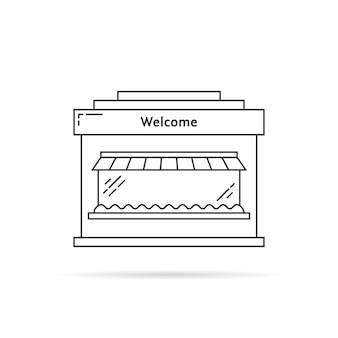 黒の細い線のショップの建物のアイコン。マーケティング、店頭、日よけ、町の建設のシルエット、エクステリア、商品のコンセプト。白い背景の上のフラットスタイルのトレンドモダンなロゴのグラフィックデザイン