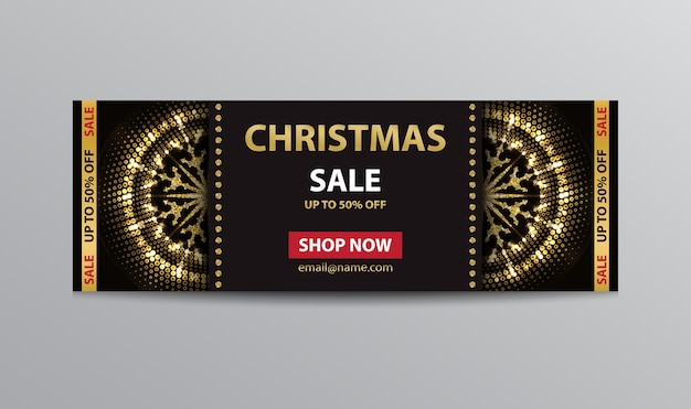 Black ticket template for christmas sale with golden glittering abstract snowflakes.