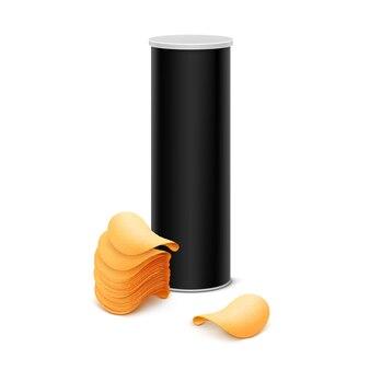 Контейнер в черной жестяной коробке со стопкой картофельных чипсов