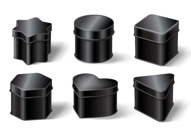Black tin boxes