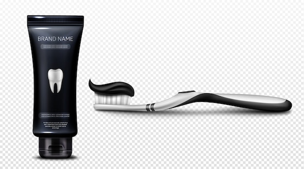 Black toothpaste in plastic tube and on brush