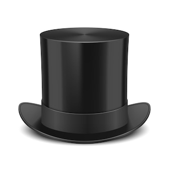 Black top hat isolated