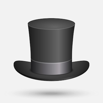 Black top hat vector illustration isolated on white background