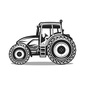 Черный трактор на белом фоне