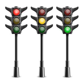 Black traffic lights on pole