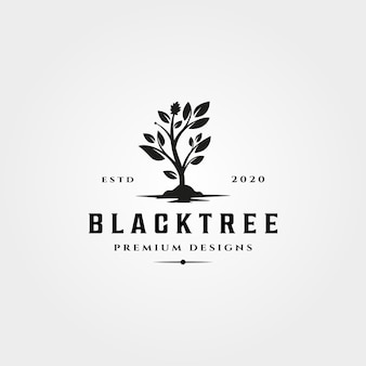 黒の木のアイコンのロゴヴィンテージ自然 Premiumベクター