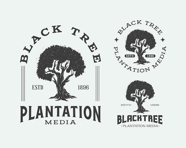 Black tree plantation media logo tree silhouette emblem logo design templates