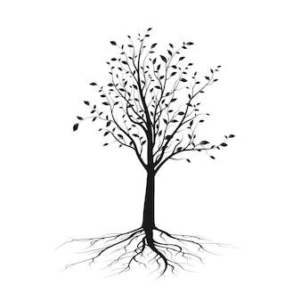 Черный силуэт дерева с листьями и корнем. концепция экологии и природы. векторные иллюстрации, изолированные на белом фоне