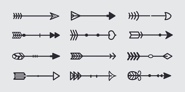 Black tribal arrow in new modern style. chalkboard arrows hand drawn icons set.