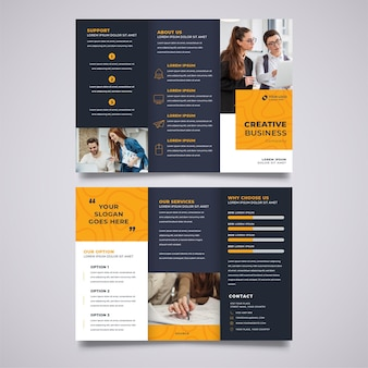 Black trifold brochure print template