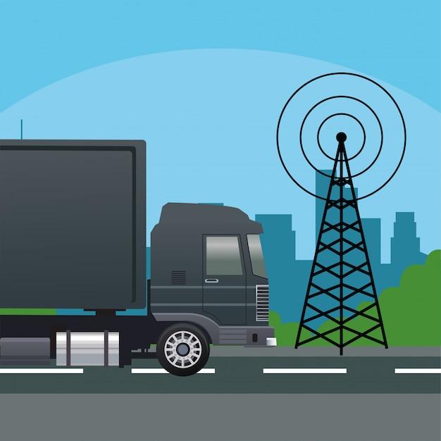 통신 안테나와 검은 트럭 자동차 차량
