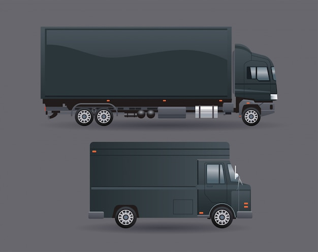 Black truck and van