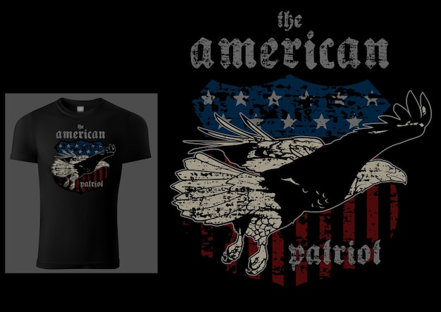 Black tshirt design american patriot with bald eagle and american flag