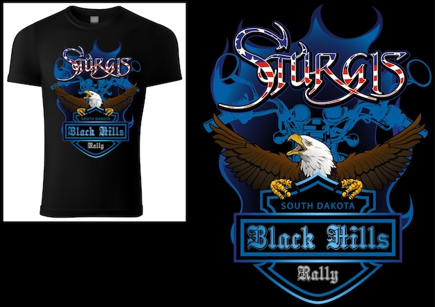 Black tshirt print design sturgis with bald eagle and blue coat of arm and blue motorcycle drawing