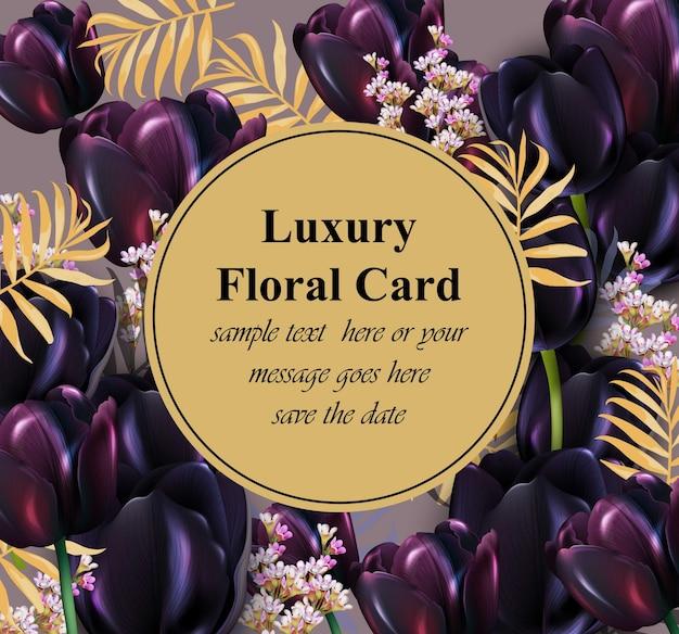 검은 튤립 럭셔리 카드 벡터입니다. 초대장, 웨딩, 브랜드 북, 명함 또는 포스터에 대 한 아름 다운 그림. 텍스트를위한 장소