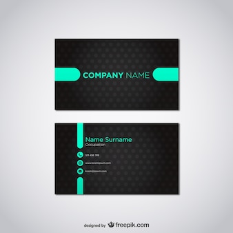 Black and turquoise business card