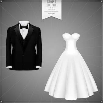 Black tuxedo and white bridal gown