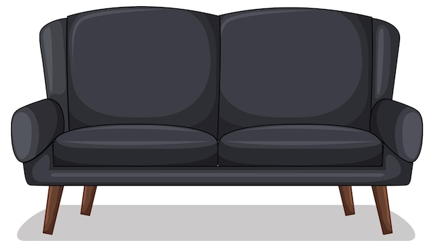 Black two-seater sofa isolated on white background