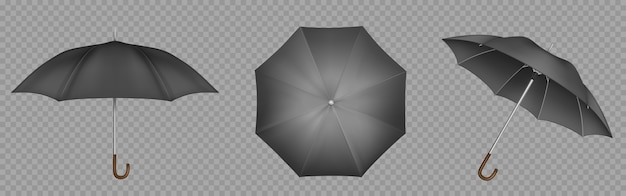 Black umbrella, parasol top, side and front view