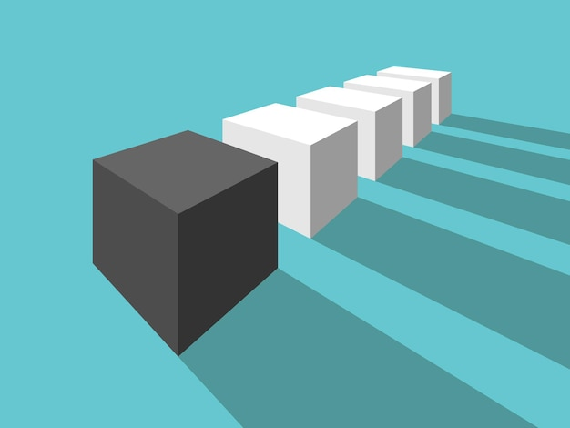 Чёрный неповторимый разный кубик много белых кубиков перспектива уникальность индивидуальность