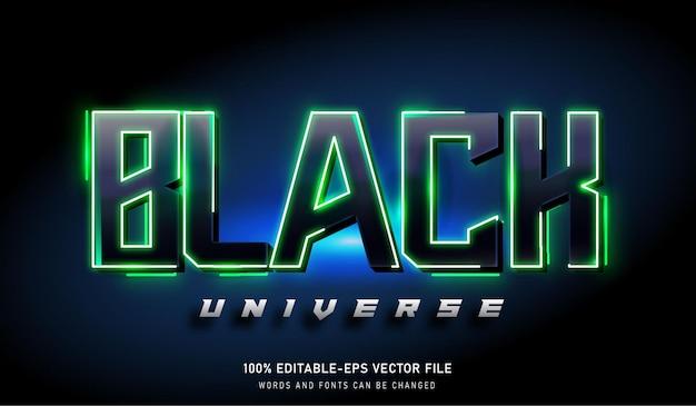黒のユニバーステキスト効果と編集可能なフォント