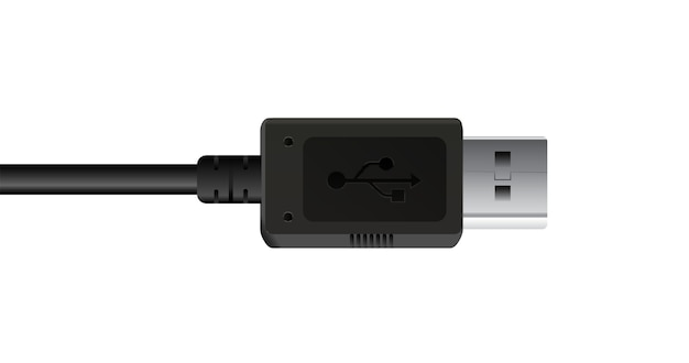 A black usb connecttion cable on a white background