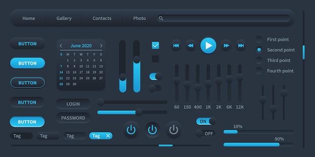 검은색 사용자 인터페이스. 현대 ui 요소 스위치, 바, 전원 버튼 및 슬라이더, 미디어 디스플레이, 로그인 및 암호, 벡터 일러스트 템플릿