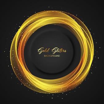 황금색, 원형, 투명 요소가 있는 검은색 벡터 배경. 어두운 배경에 금색 반짝이.