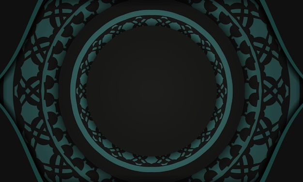 Black vector background with greek blue ornaments and place for your logo. postcard design with abstract ornament.