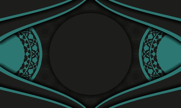 Black vector banner with greek blue ornaments and place for your logo and text. template for postcard print design with abstract ornament.
