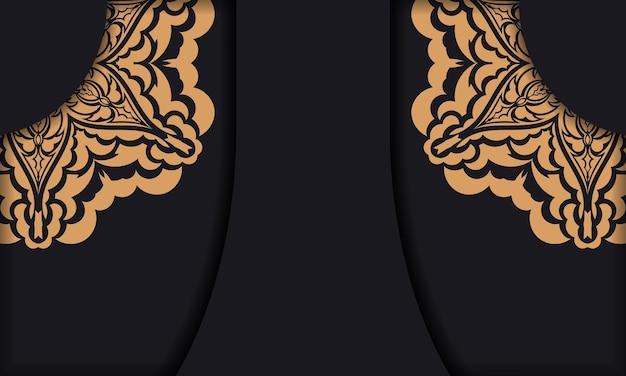 로고에 고급 장식품이 있는 검은색 벡터 배너입니다.