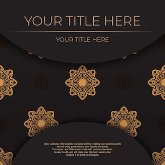 Black vector banner with vintage ornaments .