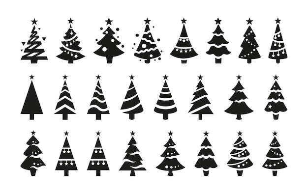 Black vector icons of christmas trees isolated on white background. black silhouettes of stylized christmas trees with a stars at the top.