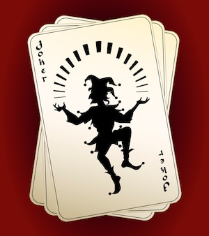 Black vector joker silhouette on a hand or deck of playing cards  designated as the highest trump or wild card conceptual of a casino  gambling and luck
