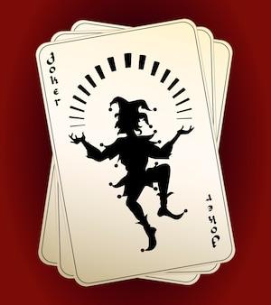 Черный векторный силуэт джокера на руке или колоде игральных карт, обозначенных как высший козырь или дикая карта, концептуальная азартных игр и удачи в казино
