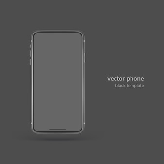 Black vector phone isolated on black background