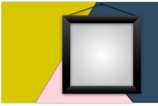 Black vector realistic frame on colorful background