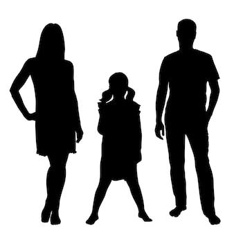 白い背景の家族の人々の黒いベクトルシルエット