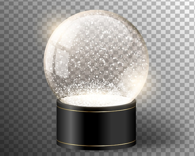Black vector snow globe empty template isolated on transparent