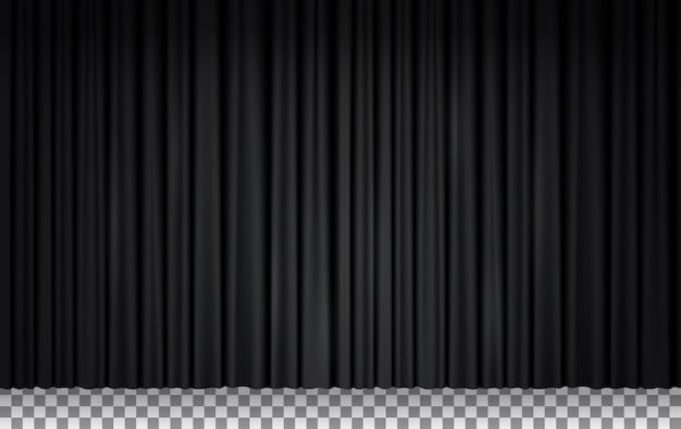 劇場や映画館の黒いベルベットのカーテン、クローズドステージのドレープ