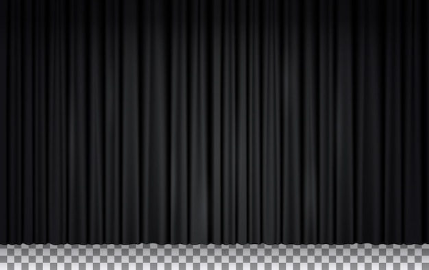 Black velvet curtain in theater or cinema, closed stage drapes