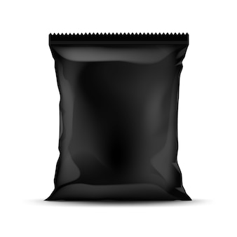 Black vertical sealed foil plastic bag for package design with serrated edges close up isolated