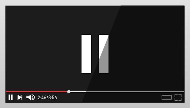 Черный видео плеер дизайн шаблона. современный видео плеер дизайн шаблона.