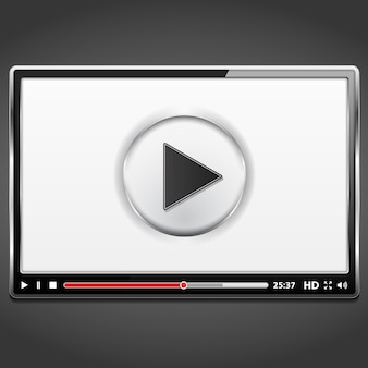 Black video player template with metallic frame, vector eps10 illustration