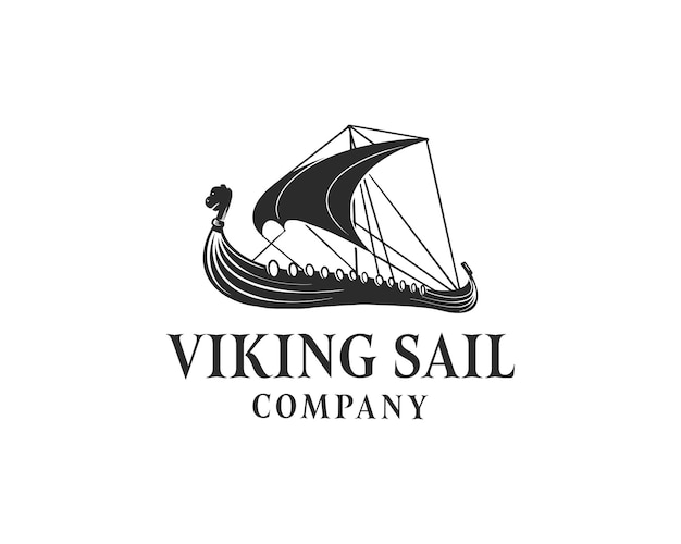 黒のバイキング船のロゴデザインベクトルイラスト