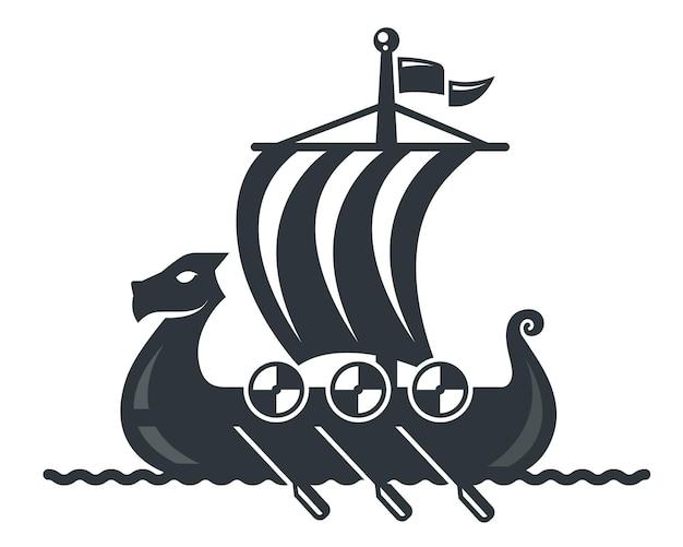 帆とオールの黒いバイキング船のアイコン。フラットベクトルイラスト。